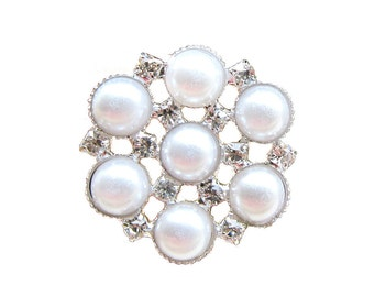 5 Pearl Crystal Rhinestone buttons for Wedding Decoration Invitation Card Scrapbooking Jewelry Supply RB-074 (28mm  or 1.1inch)