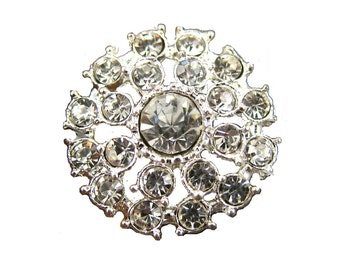 5 Rhinestone buttons for Wedding Invitation Card Garter Hairclip Bouquet Napkin Ring RB-027 (21mm or 0.8 inch)