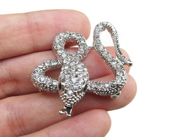 2 Snake Crystal Rhinestone Brooch - for Wedding Bouquet Hair Accessories Hair Pin BRO-013 (34mm or 1.3inch)