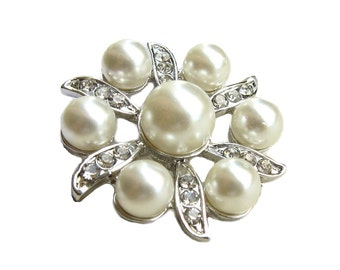 5 Pearl Crystal Rhinestone buttons for Wedding Invitation Card Hair Accessories Scrapbooking  Ring Pillow Garter RB-089 (26mm or 1 inch)