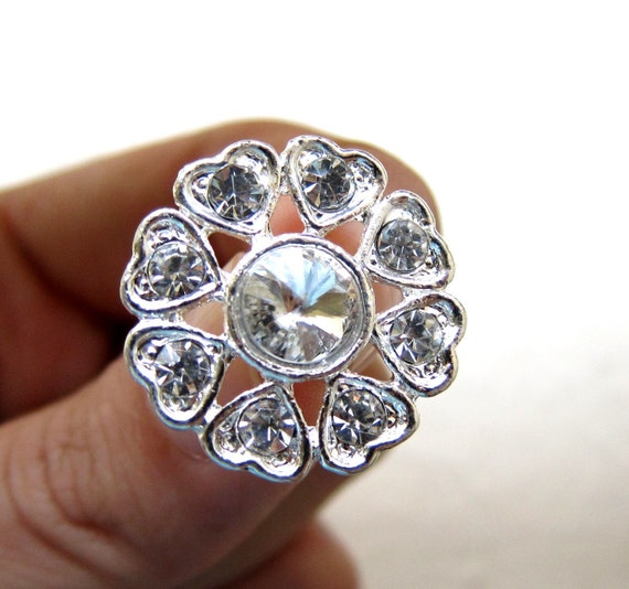 5 Heart Rhinestone Buttons for Wedding Invitation Card Bouquet Napkin Ring Scrapbooking RB-017 (22mm or 0.9inch)