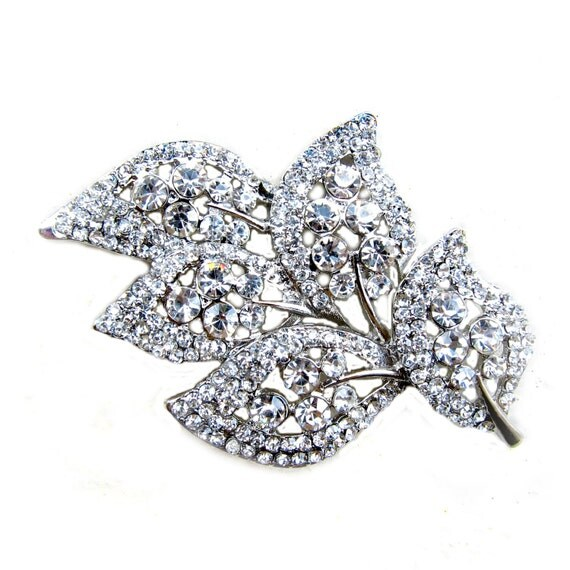 1 Crystal Rhinestone Button or Connector for Wedding Decoration Invitation Card Scrapbooking CN-006 (70mm by 48mm or 2.8inch by 1.9inch)