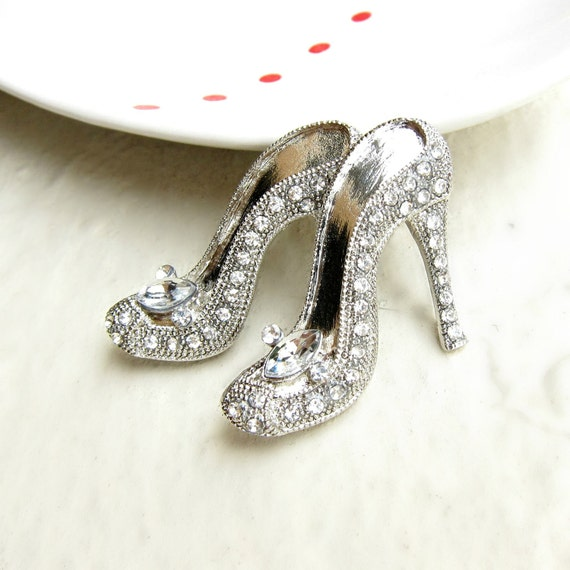 2 Rhinestone Brooch Component Crystal Heel - for Wedding Brooch Bouquet Ring Pillow Gift Box BRO-009 (40mm or 1.6inch)