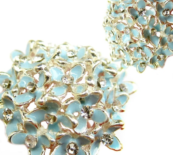 5 Hydrangea Enamel Rhinestone buttons Pastel Blue - Hair Accessories, Brooch Bouquet, Charm, Shoe Clips RB-046B (size 29mm or 1.1 inch)