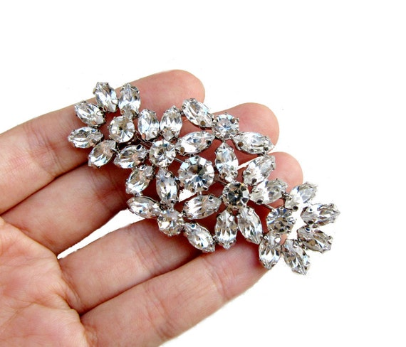 1 Crystal Rhinestone Brooch for Wedding Bridal Sash Cake Decoration Gift Box Ring Pillow BRO-014 (75mm  or 3 inch)