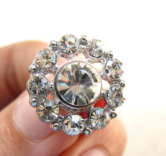 5 Rhinestone Buttons Round for Wedding Invitation Card Hair Accessories Scrapbooking Garter Napkin Ring RB-042 (18mm or 0.7 inch)