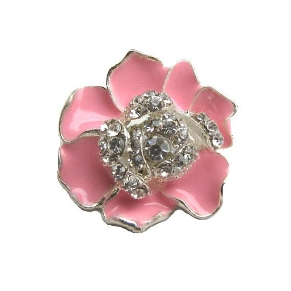5 Bright Pink Enamel Flower Rhinestone buttons - Wedding Bridemaid Hair Accessories Scrapbooking RB-059BP (size 23mm or 0.9 inch)