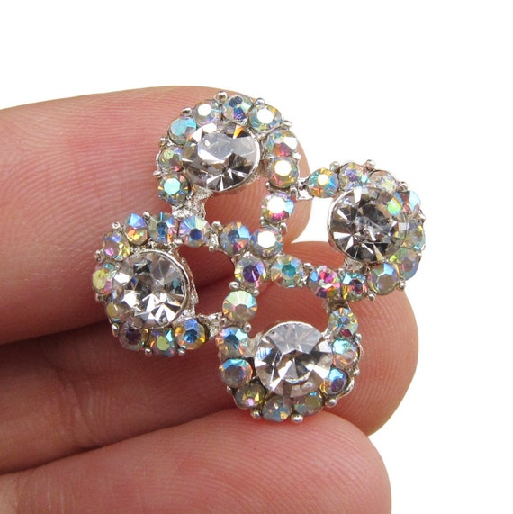 5 Crystal Rhinestone buttons for Wedding Hair Accessories Scrapbooking Invitation Card RB-081 (18mm or 0.7 inch)