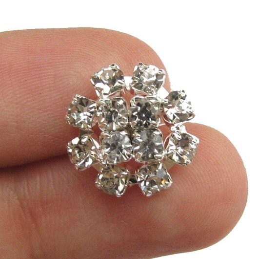 20 Crystal Rhinestone buttons RB-083 for Wedding Supply Hair Accessories Jewelry Scrapbooking (14mm or 0.55 inch)
