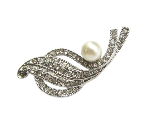 3 Pearl Rhinestone Brooch Component - Wedding Hair Accessories, Shoe Clips, Gift Box, Garter, Bouquet BRO-015 (48mm or 1.9inch)