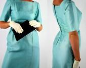 50s vintage satin sheath dress with detachable overskirt / medium