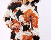 70s vintage groovey graphic zip front shift / large