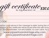 Twenty Dollar Gift Certificate - Jojo's Retro and Vintage