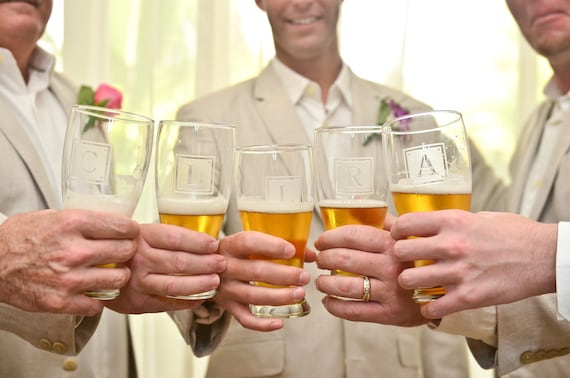 Groomsmen Glasses - DATED SQUARE MONOGRAM Wedding Beer Glasses - Etched Glass by Distinct Glass Studio - Ships to Canada