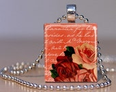 Vintage Red and Peach roses on a Peach colored handwriting background - Upcycled Scrabble Tile Pendant (245G1)