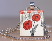 Poppies Pendant from a Vintage Wizard of Oz Storybook Illustration - Close-up - Made from an Upcycled Scrabble Tile