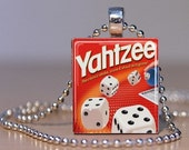 YAHTZEE game pendant made from an Upcycled Scrabble Tile