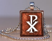 Chi Rho Christian Symbol on a Vintage Brown Background - Pendant made from an Upcycled Scrabble Tile (131E3)