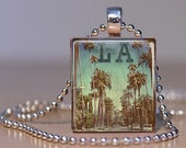 Vintage Los Angeles Street with Palm Trees Photo Tie Tack or Pendant made from an Upcycled Scrabble Tile (252E2)