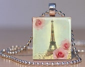 Paris Eiffel Tower on a Pastel Musical Rose background - Pendant from an Upcycled Scrabble Tile (184C3)