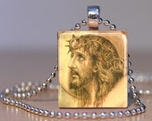 Vintage Jesus Christ with Crown of Thorns Art image on a Pendant or Lapel Pin made from an Upcyceld Scrabble Tile
