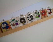 Comic Book Super Hero Wine Charms - Birds disguised as your favorite characters on Upcycled Scrabble Tiles - Set of 7
