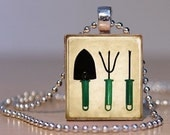 For the Love of Gardening - Whimsical Garden Tools on an Upcycled Scrabble Tile Pendant (97A4)