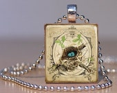 Bird's Nest on a Branch with Little Blue Eggs on a Pendant or Tie Tack made from Upcycled Scrabble Tile (12B3)