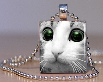 Melt your Heart Kitteh Upcycled Scrabble Tile Pendant - Adorable Kitty Cat that makes you go Awwww