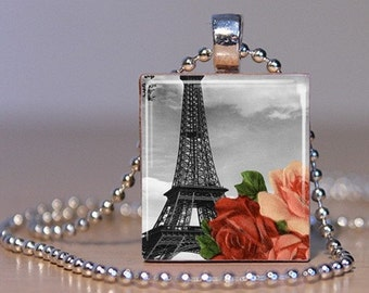 Roses in Paris - Eiffel Tower and Rose Altered Art Pendant made from an Upcycled Scrabble Tile (245C1)
