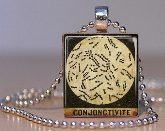 Pink Eye - Microscope Slide Image in French - made into a Pendant from an Upcycled Scrabble Tile