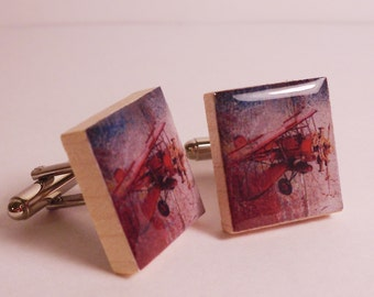 Vintage Red Baron Plane Cuff Links made from Upcycled Scrabble Tiles