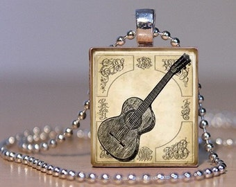Vintage Guitar Print Pendant on an Upcycled Scrabble Tile (143B5)