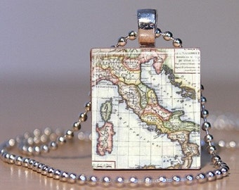 Vintage Map of Italy Pendant made from an Upcycled Scrabble Tile