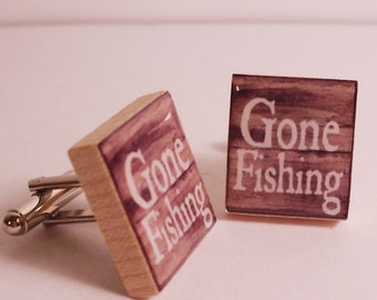Gone Fishing Cuff Links made from Upcycled Scrabble Tiles for the man that would just rather be Fishing