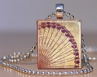 Vintage Ferris Wheel Tie Tack or Pendant made from an Upcycled Scrabble Tile