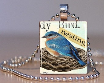 Altered Vintage Art Nesting Bluebird - Made to order Scrabble Tile Pendant