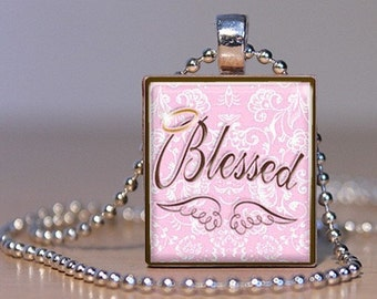 BLESSED - Pink and Brown Angel Wings and Halo Pendant or Lapel Pin made from an Upcyceld Scrabble Tile (246C5)