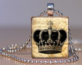 Black Royal Crown on Aged Paper - Pendant or Lapel Pin made from an Upcyceld Scrabble Tile (30C2)