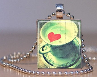 I Love Tea - Cup of Tea with a Red Heart made into a Pendant on an Upcycled Scrabble Tile (252A7)