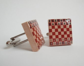 Chess Board Cuff Links made from Upcycled Scrabble Tiles (117B1)