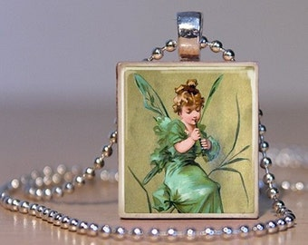 Vintage Fairy in Green Playing Music  - Pendant made from an Upcycled Scrabble Tile (87C8)