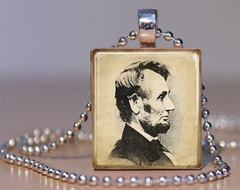 Honest Abe - Abe Lincoln Profile Portrait on a  Pendant or Tie Tack made from an Upcycled Scrabble Tile (79E6)