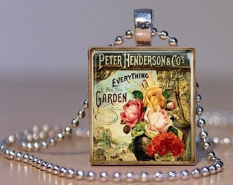 Vintage Peter Henderson Seed Catalog Art on an Upcycled Scrabble Tile Pendant (97F1)