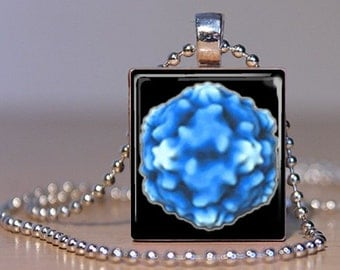 Common Cold Virus in Brilliant Blue made into a Pendant from an Upcycled Scrabble Tile (36H8)