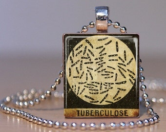 Tuberculosis (TB) Microbiology Vintage French Medical Book Image made into a Pendant from an Upcycled Scrabble Tile (04A1)