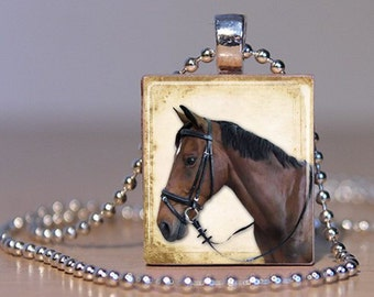 Brown Vintage Horse Picture Pendant made from an Upcycled Scrabble Tile (152B6)