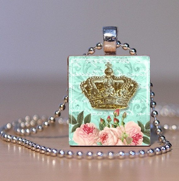 Golden Crown on a Vintage Pastel Blue Background with Pink Roses - Pendant from an Upcycled Scrabble Tile (184A2)