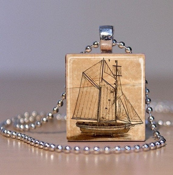 Vintage Sailing Ship Pendant or Tie Tack - Made from Upcycled Scrabble Tile and Altered Art (102E7)