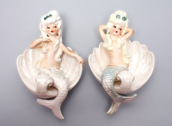 Super Sale Lefton Mermaid Set Left And Right Wall Plaques
